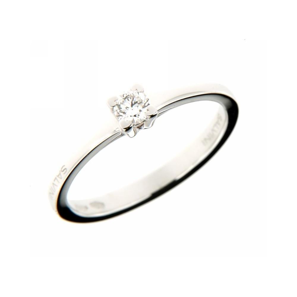 Anello solitario in oro bianco e rosa con diamanti 0,15ct