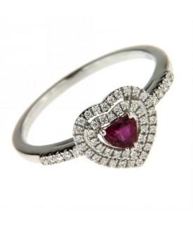 Anello Diamanti 0,18ct e Rubino 0,26ct