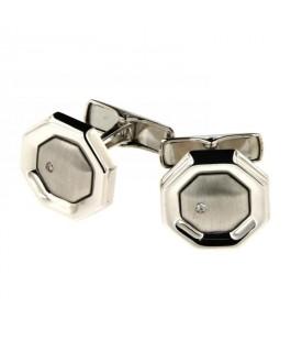 Gemelli in Oro bianco e diamanti 0,04 ct