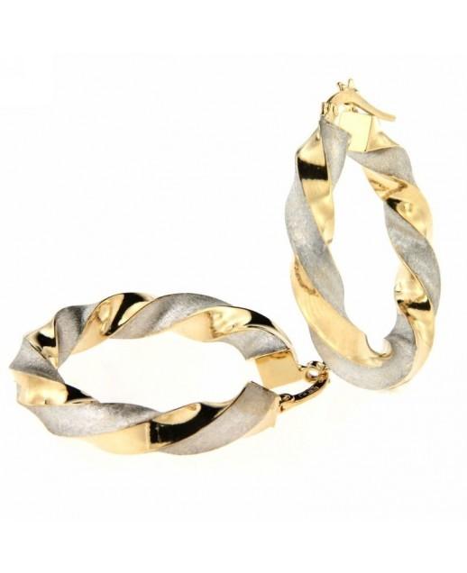 Orecchini cerchi in oro Giallo e Bianco