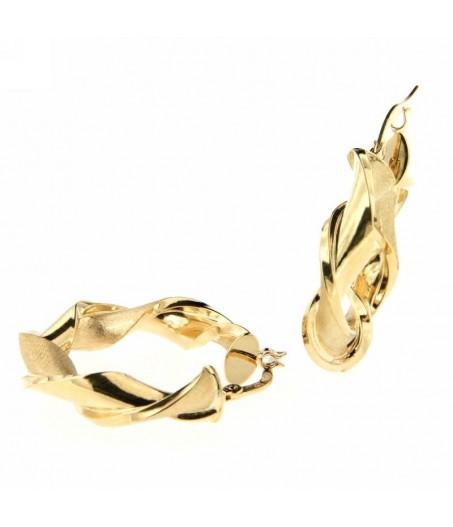 Orecchini cerchi in oro Giallo lucido e satinato