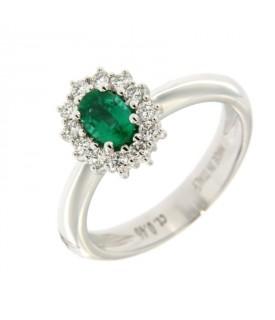 Anello Diamanti 0,29ct e Smeraldo 0,46ct