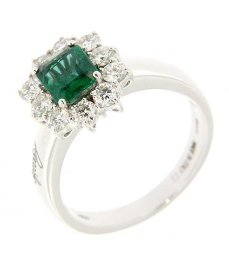 Anello Diamanti 0,82ct e Smeraldo 0,92ct