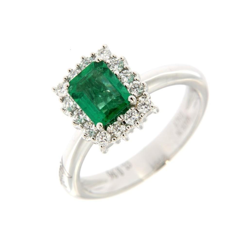 Anello Diamanti 0,37ct e Smeraldo 0,96ct