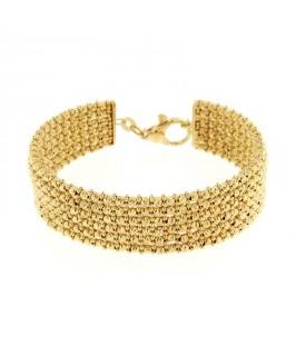 Bracciale in argento dorato maglia diamantata