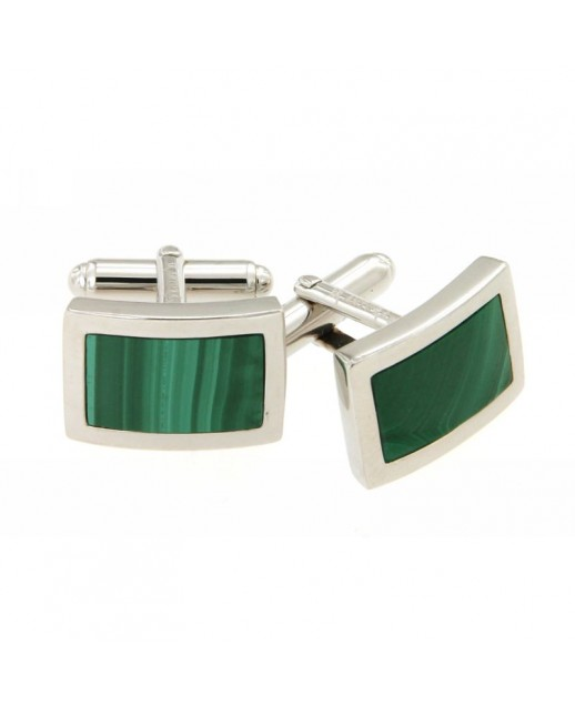 Gemelli in argento e agata verde