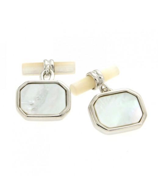 Gemelli rettangolari in argento e madreperla