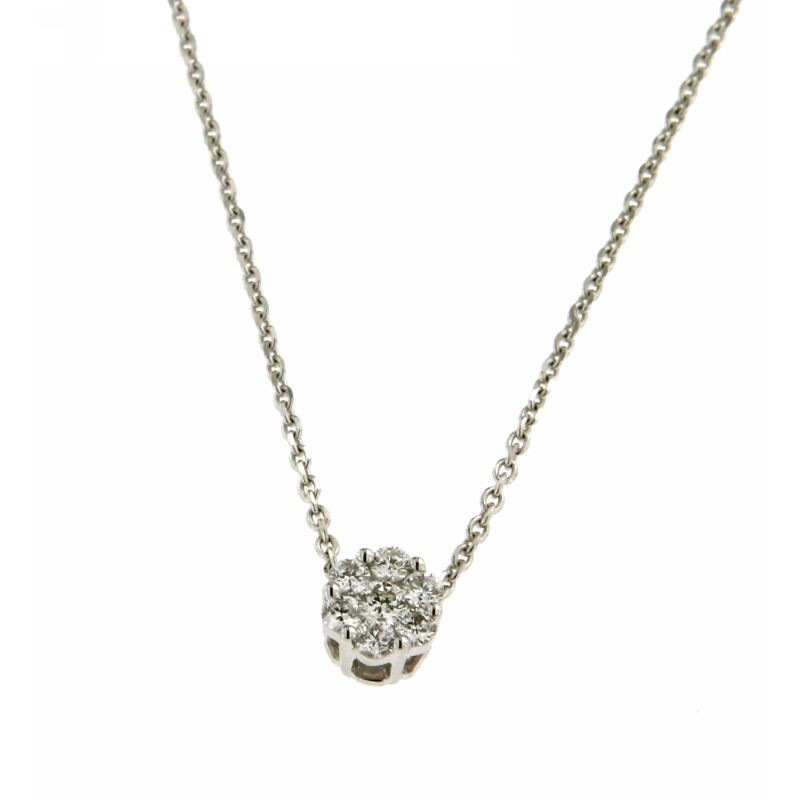 Collana con diamante solitario 0,18 ct