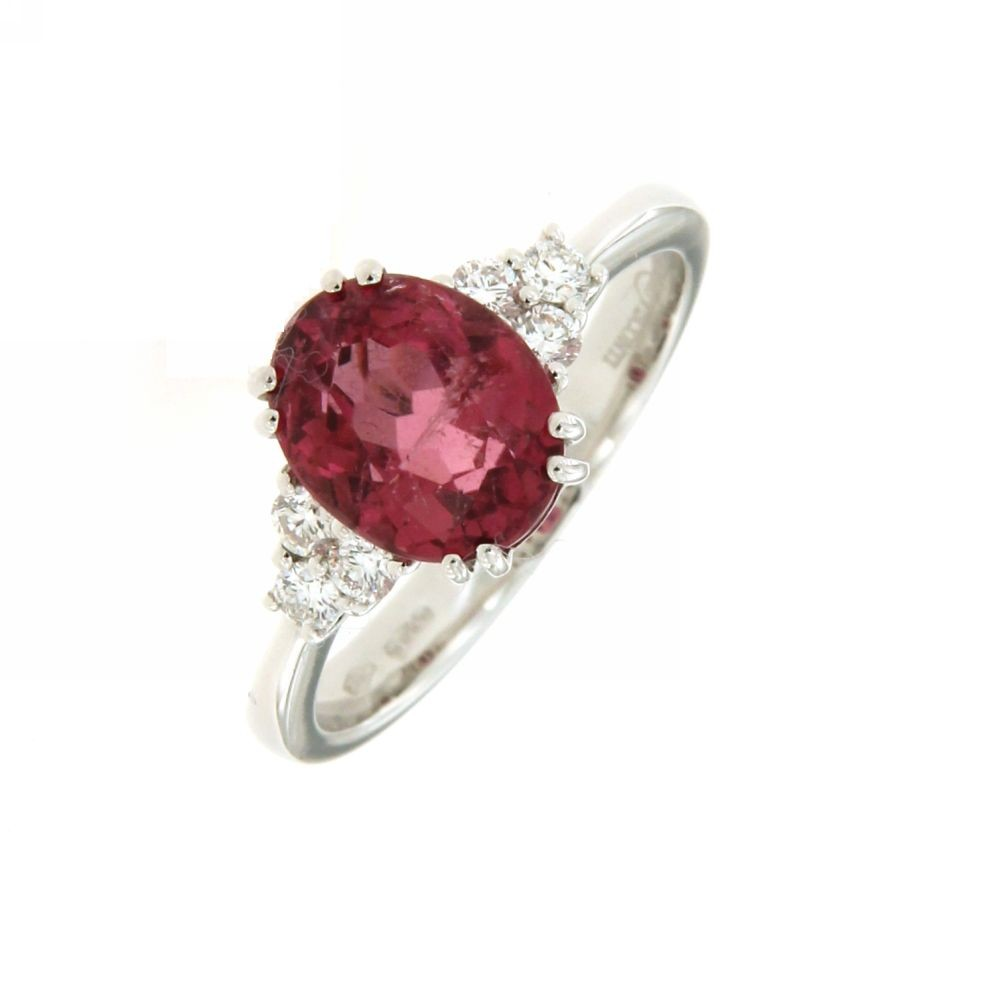 Anello con Tormalina rosa e Diamanti 0,20 ct