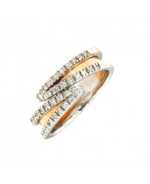 Anello in oro rosa con diamanti 0,28 ct