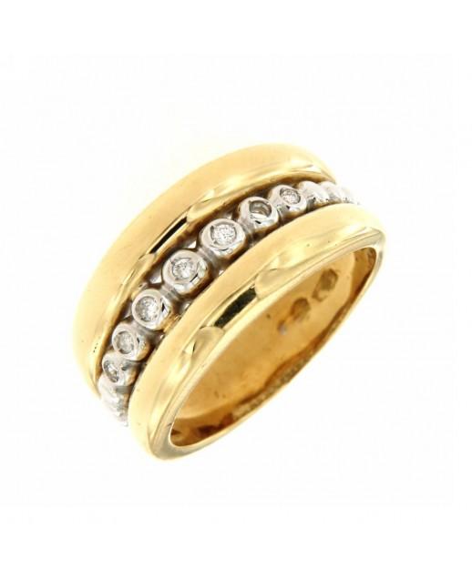 Anello in oro giallo con diamanti 0,07 ct