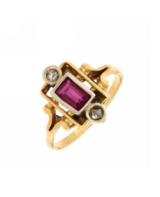 Anello fine 800 con rubino e diamanti