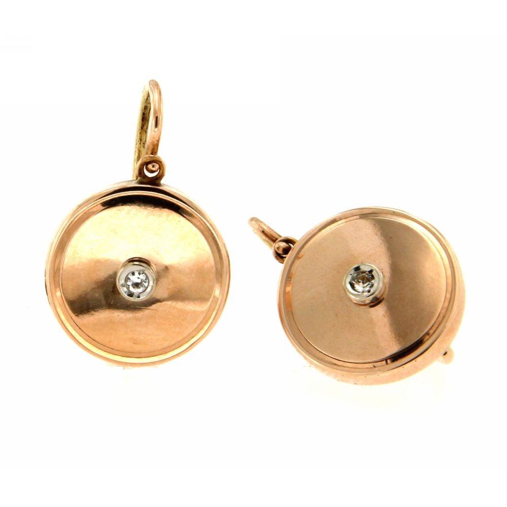 Orecchini fine 800 oro rosa con diamanti