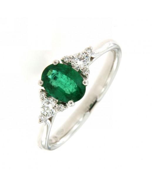 Anello con smeraldo 0,76ct e diamanti 0,20ct