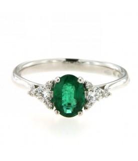nuovo stile b74c4 c5a09 Anello con smeraldo 0,76ct e diamanti 0,20ct