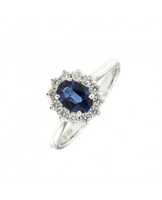 Anello con zaffiro 0,78ct e diamanti 0,32ct
