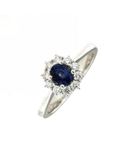 Anello con zaffiro 0,65ct e diamanti 0,25ct