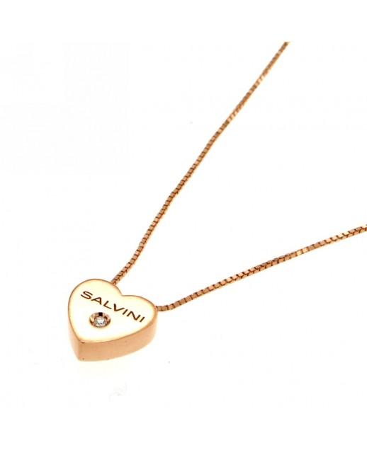 Collana Cuore in oro Rosa con diamante 0,01 ct