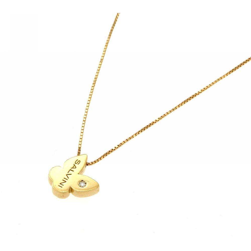 Collana Farfalla in oro Giallo con diamante 0,01 ct