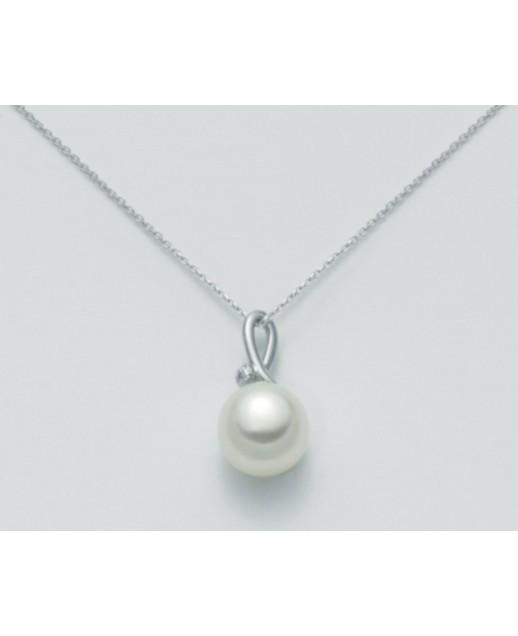 Collana con perla 8,5/9 e diamanti 0,007