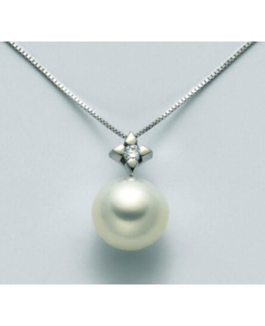 Collana con perla 7,5/8 e diamanti 0,03ct