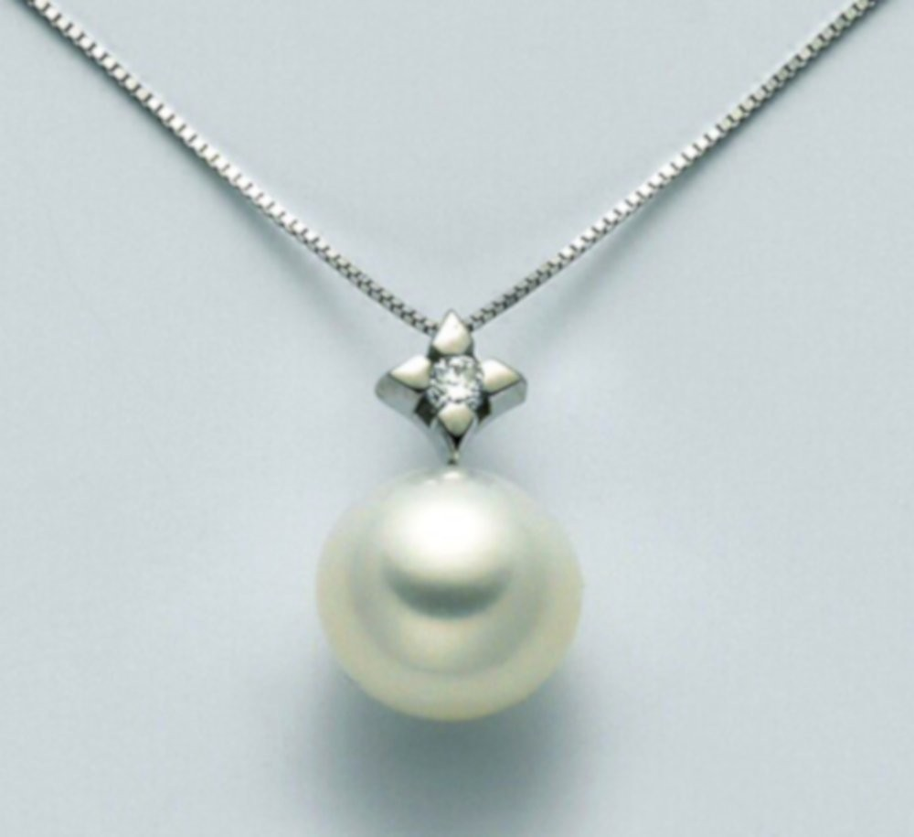 Collana con perla 7,5/8 e diamanti 0,03ct
