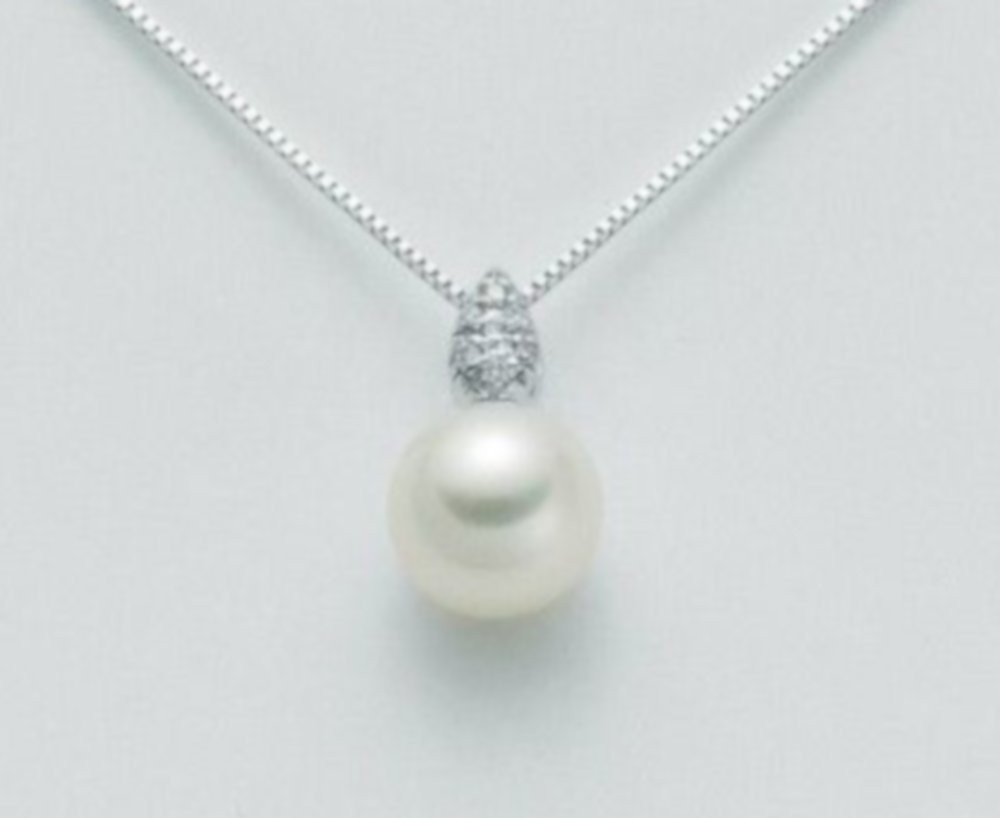 Collana con perla 7,5/8 e diamanti 0,028 ct