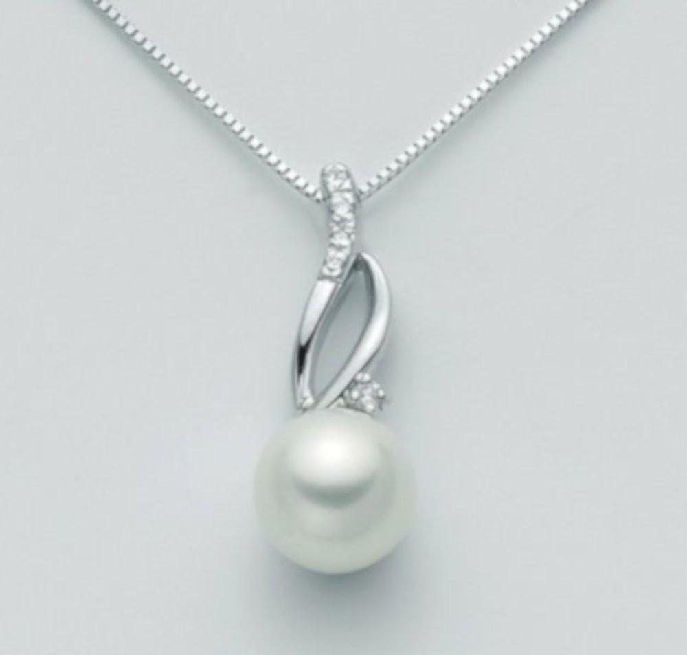Collana con perla 7,5/8 e diamanti 0,04 ct