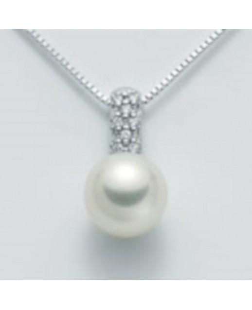 Collana con perla 8,5/9 e diamanti 0,056 ct