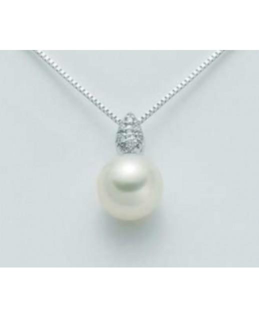 Collana con perla 8,5/9 e diamanti 0,028 ct
