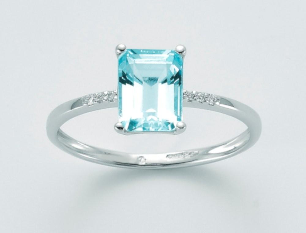 Anello Topazio e diamanti 0,022 ct