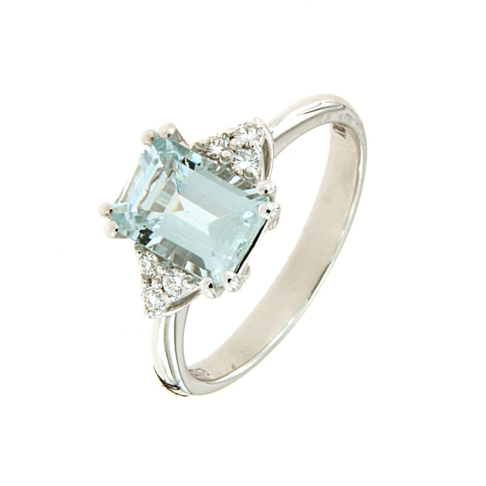Anello Diamanti 0,09ct e Acquamarina 1,45ct