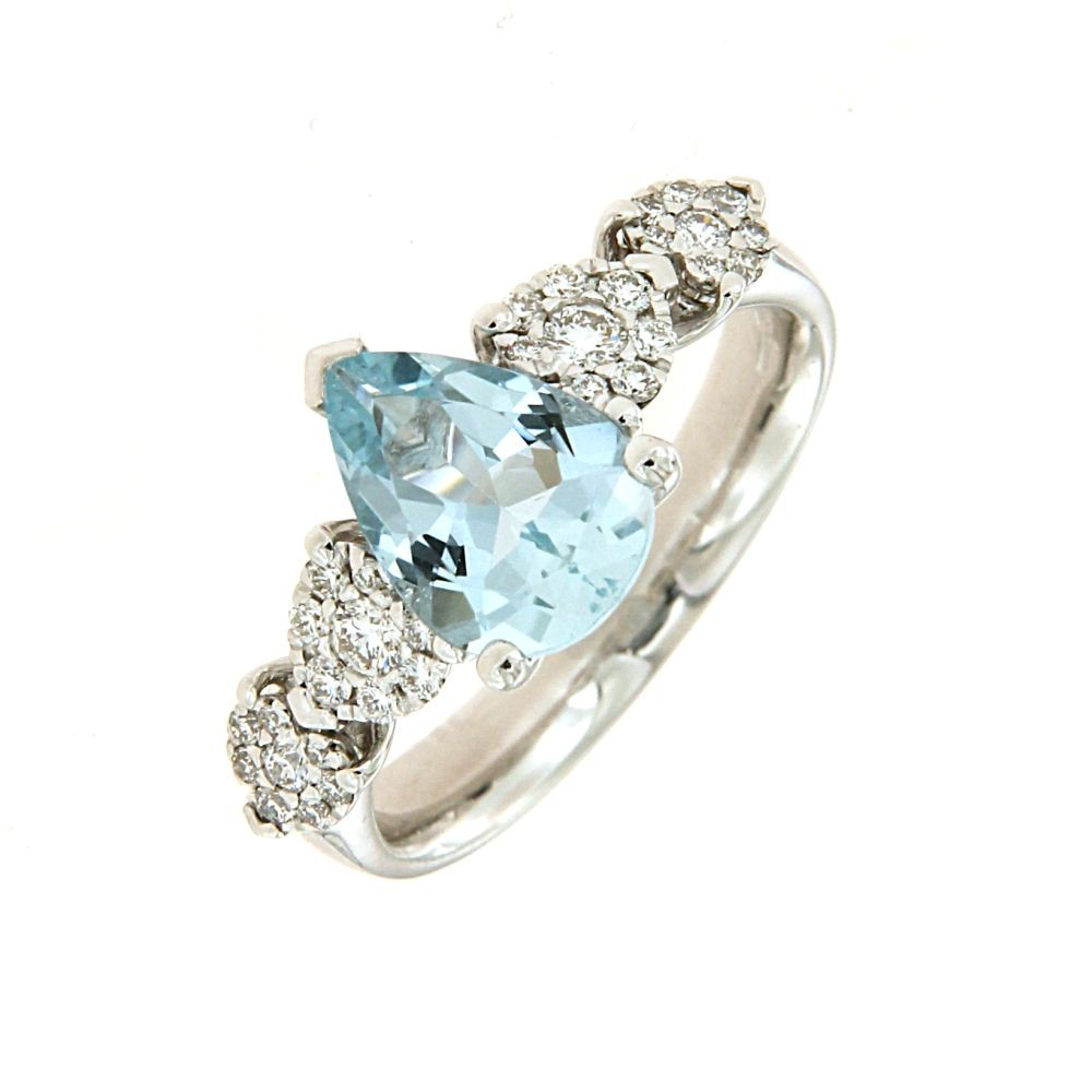 Anello Diamanti 0,27ct e Acquamarina 1,51ct