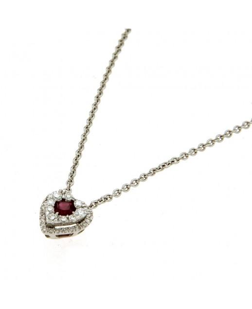 Collana in oro bianco con rubino e diamanti