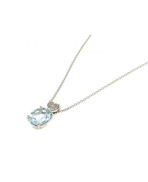 Collana Acquamarina 1,58ct  e Diamanti 0,06ct