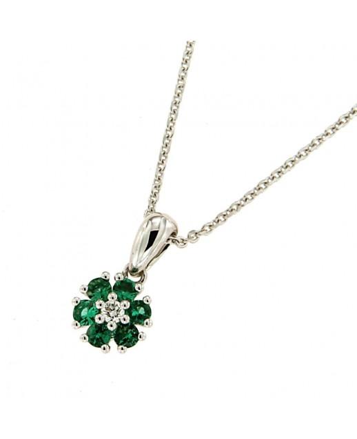 Collana in oro bianco con smeraldo e diamanti