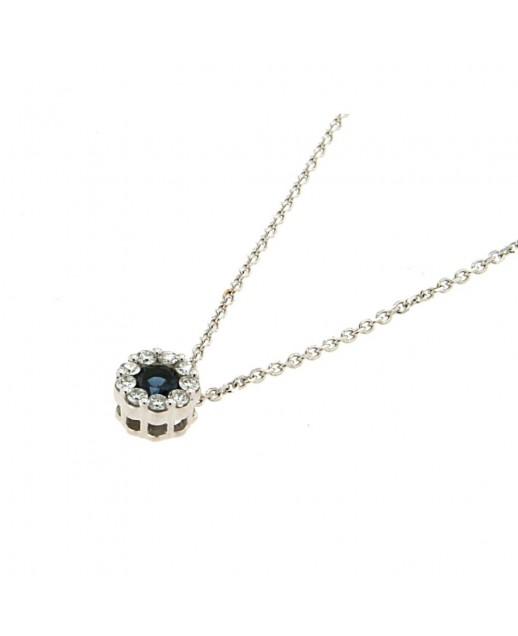 Collana in oro bianco con zaffiro e diamanti