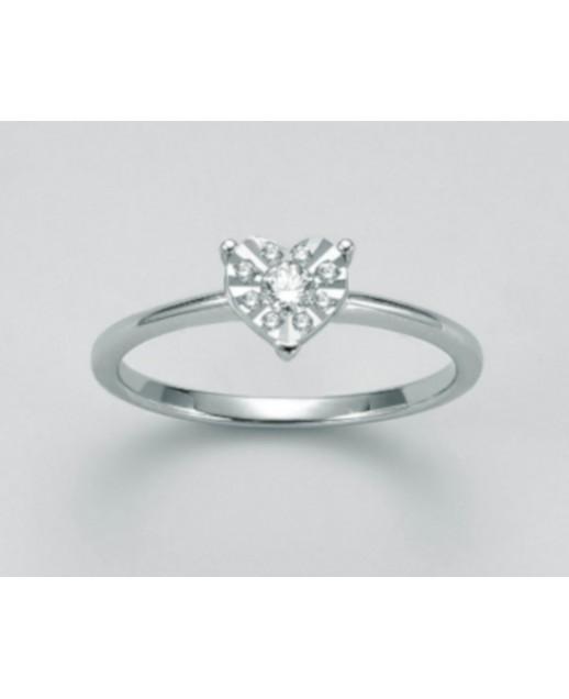 Anello a cuore con diamanti