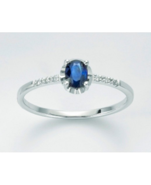 Anello Zaffiro e diamanti 0,03 ct
