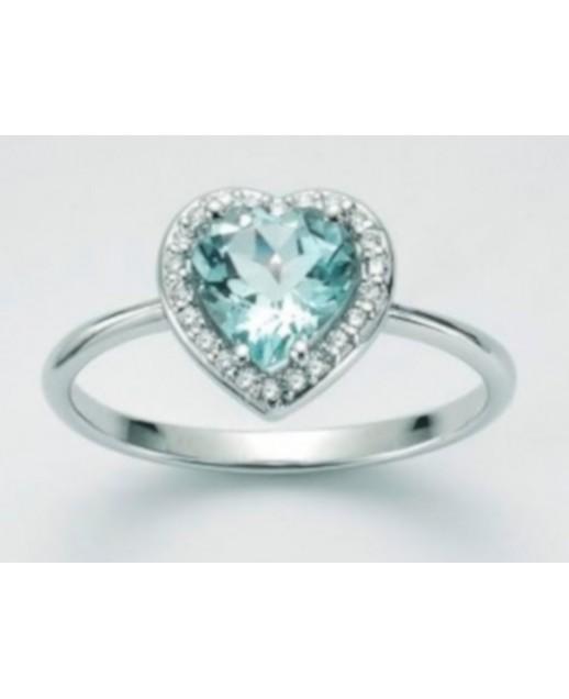 Anello Acquamarina e diamanti 0,088 ct