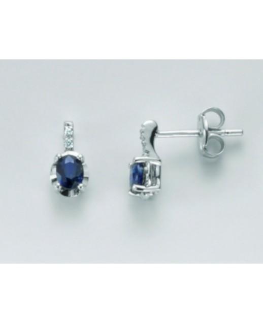 Orecchini Zaffiro e diamanti 0,02 ct