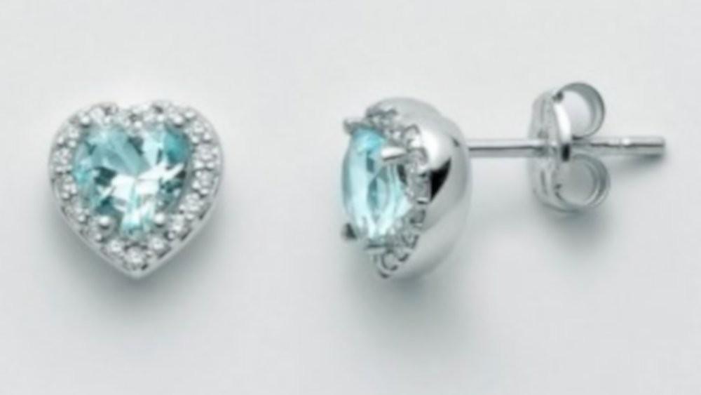 Orecchini con Acquamarina e diamanti 0,136 ct