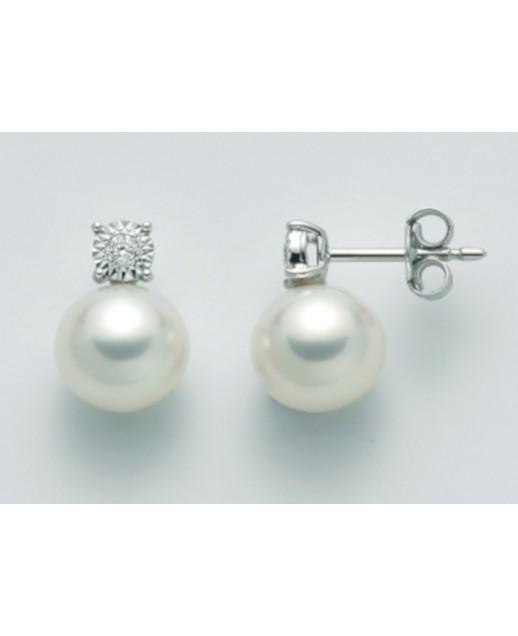 Orecchini perle 8,5/9 e diamanti 0,06ct