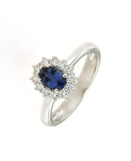 Anello con Zaffiro 0,66 ct e diamanti