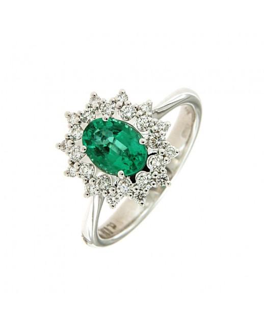 Anello con Smeraldo 0,86 ct e diamanti