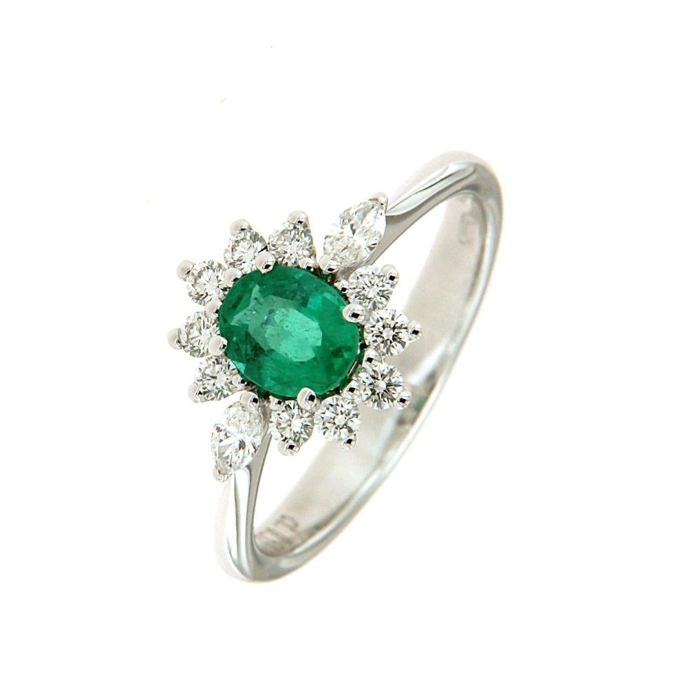 Anello con Smeraldo 0,53 ct e diamanti
