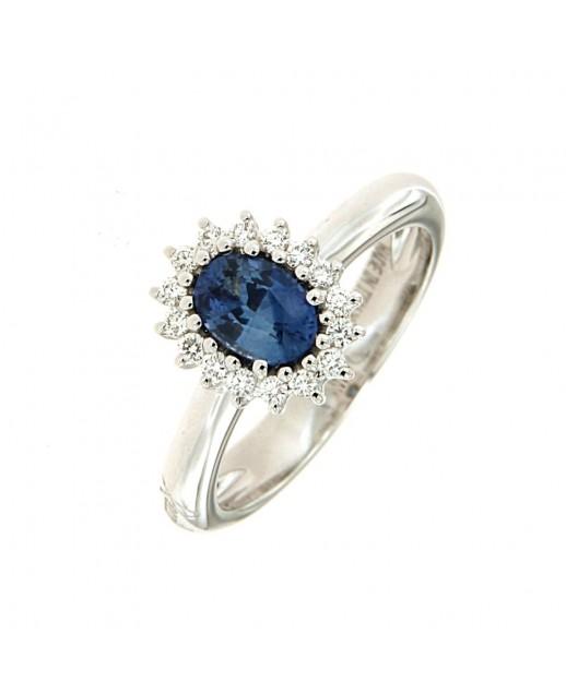 Anello con Zaffiro 0,82 ct e diamanti