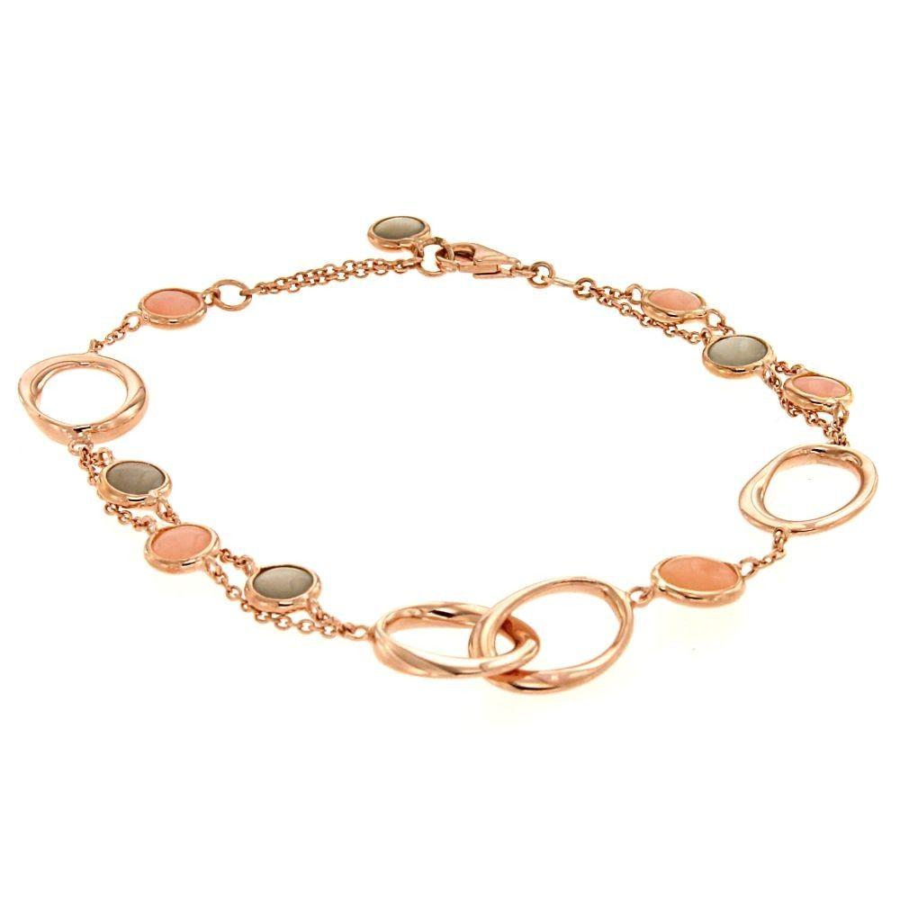 Bracciale in oro rosa con Quarzo rosa