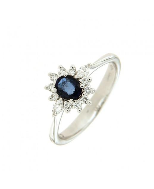 Anello con Zaffiro 0,43 ct e diamanti