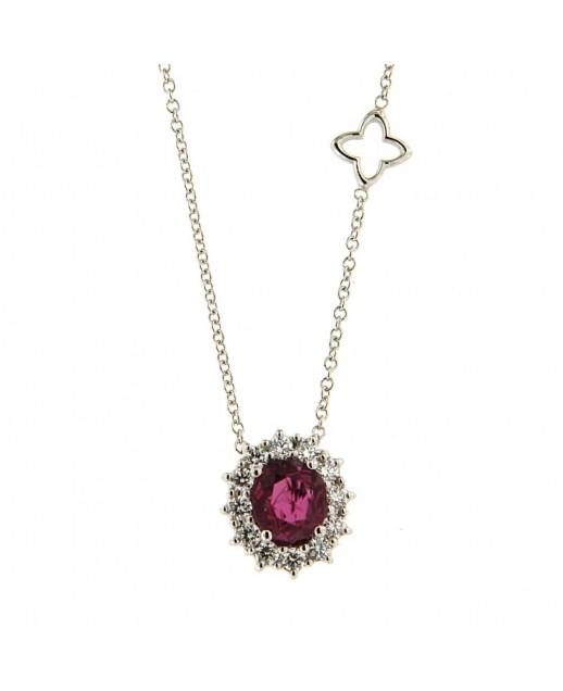 Girocollo con Rubino 0,86 ct e diamanti